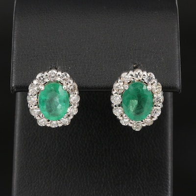 18K 3.50 CTW Emerald and 1.00 CTW Diamond Halo Stud Earrings