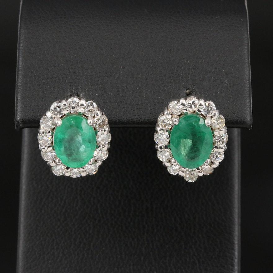 18K 3.50 CTW Emerald and 1.00 CTW Diamond Halo Stud Earrings