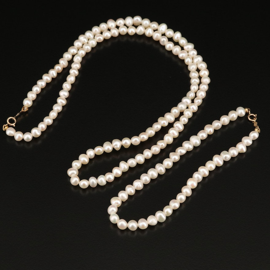 Pearl Necklace and Bracelet Set with 14K Clasps