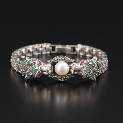 Sterling Pearl, Emerald, Ruby and Marcasite Feline Bracelet
