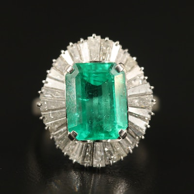 Platinum 3.73 CT Emerald and 1.44 CTW Diamond Ballerina Ring