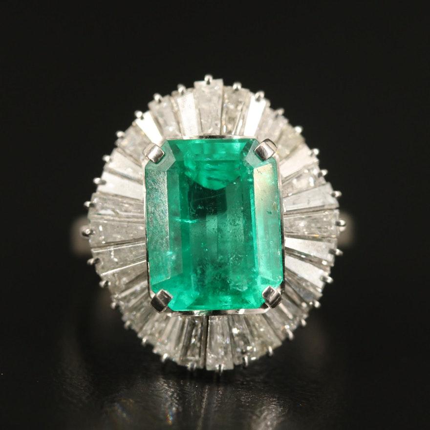 Platinum 3.73 CT Emerald and 1.44 CTW Diamond Ballerina Ring