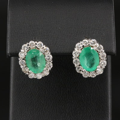 18K 3.50 CTW Emerald and 1.00 CTW Diamond Halo Earrings