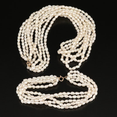 Pearl Multi-Strand Necklace and Bracelet Set with 14K Clasps