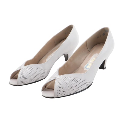 Selby Perforated White Leather Open-Toe Low-Heeled Pumps
