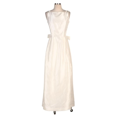 Anthony Vask Ivory Sleeveless Evening Dress with Open Crisscrossed Bow Back