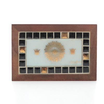 Georges Briard Mosaic Tile with Gilt Glass Wooden Box