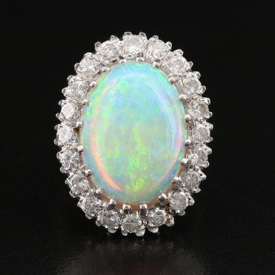 14K Opal and 1.30 CTW Diamond Cocktail Ring