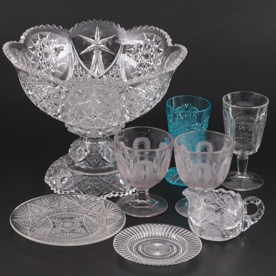 """McKee """"Yutec"""" Pressed Glass Punch Bowl on Stand with Pressed Glass Tableware"""