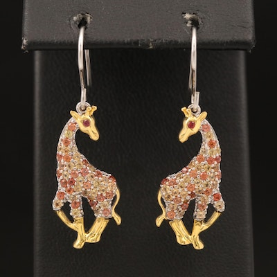 Sterling Sapphire Giraffe Earrings