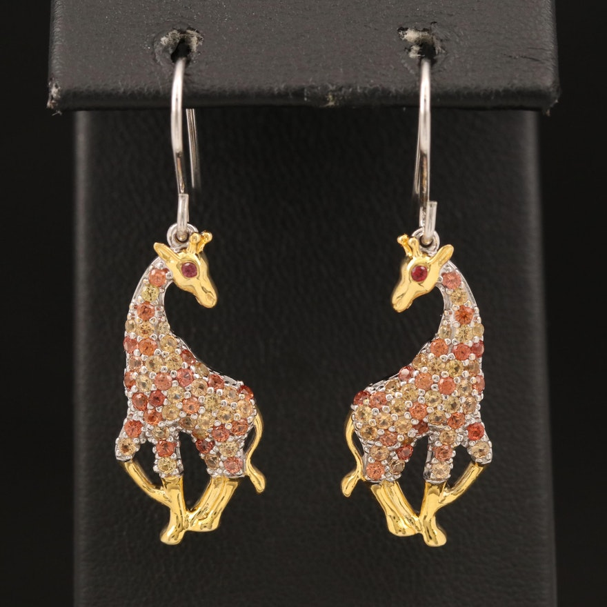 Sterling Sapphire Giraffe Earrings