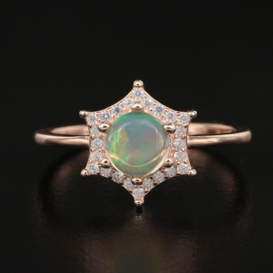 Sterling Opal and Cubic Zirconia Star Ring