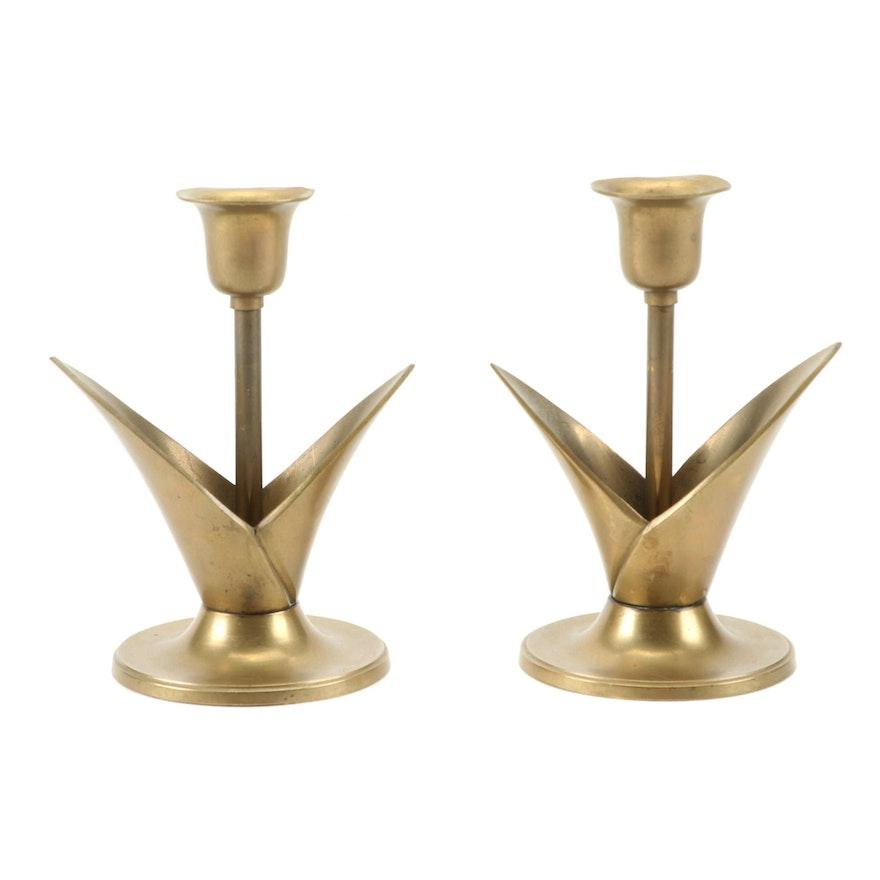 Pair of Flower-Shaped Brass Candlesticks