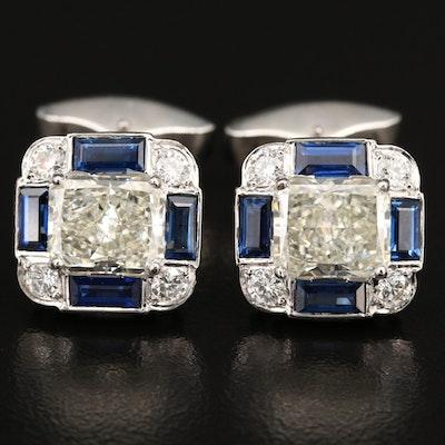 Platinum 6.43 CTW Diamond and Sapphire Cufflinks
