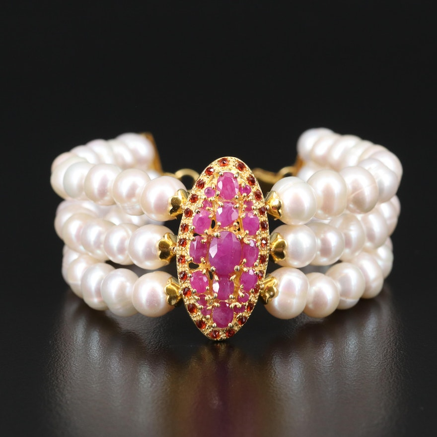 Sterling Pearl and Ruby Triple Strand Bracelet