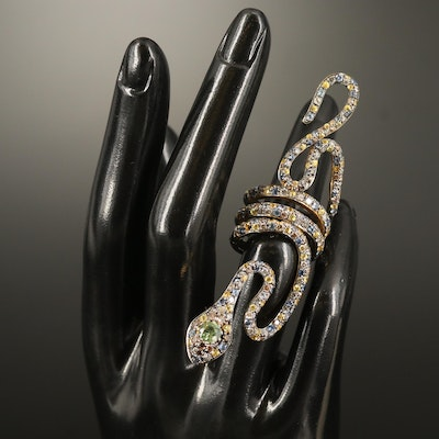 18K Two-Tone 2.74 CTW Diamond and Sapphire Coiled Snake Statement Ring