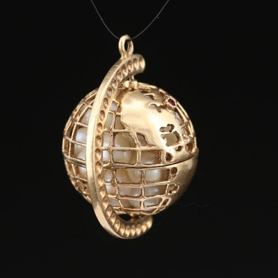 14 Pearl and Ruby Spinning Globe Pendant