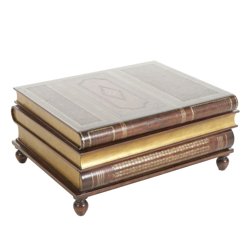 Maitland-Smith Stacked Book-Form Leather-Top Coffee Table