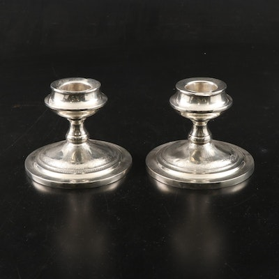 "Simpson, Hall, Miller & Co. ""Persian"" Weighted Sterling Silver Candle Holders"