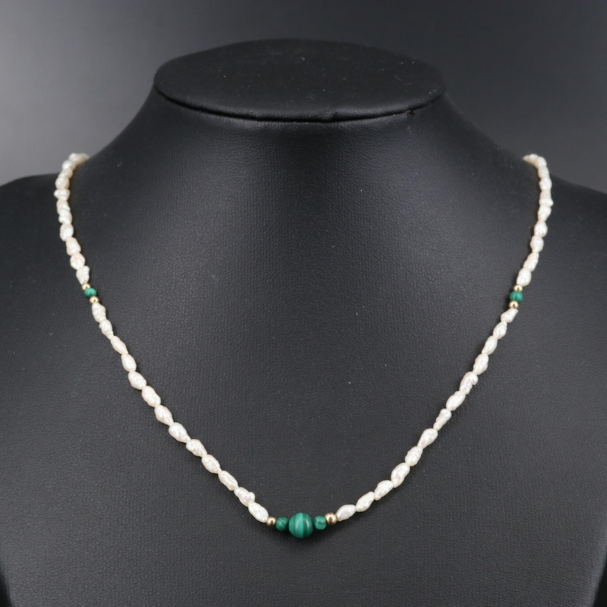 Pearl and Malachite Necklace with 14K Clasp and Beads