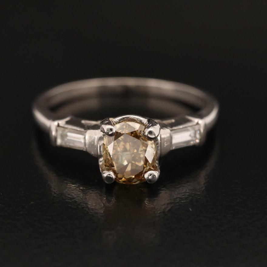 Platinum 1.20 CTW Diamond Ring with GIA Report