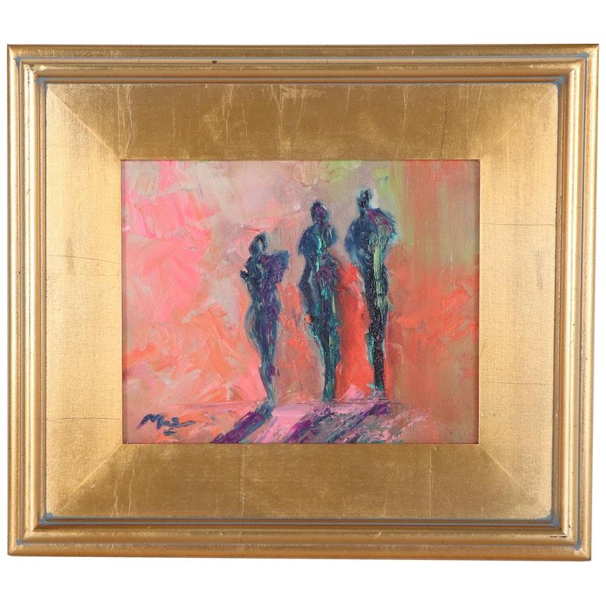 "Claire McElveen Oil Painting ""Sunset Walk,"" 2021"