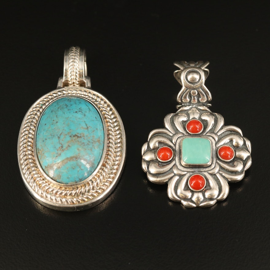Sterling Pendants with Coral and Faux Turquoise