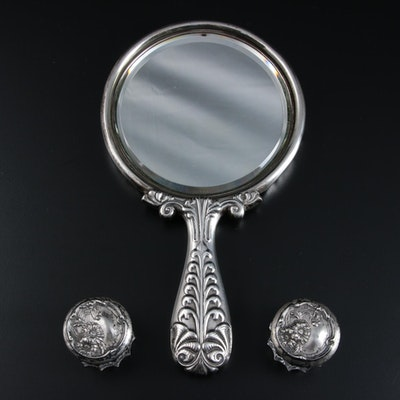 Gorham Sterling Silver Hand Mirror and Other Sterling Lidded Vanity Jars
