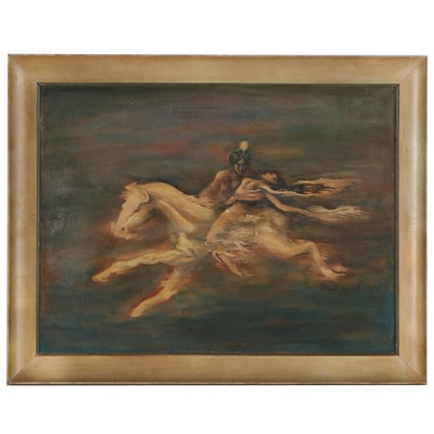 Phyll Anderson Oil Painting of Mythical Figures on Horseback, 1949