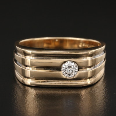 Le Mans 14K Diamond Grooved Band