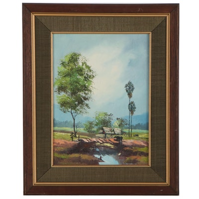 Southeast Asian Village Landscape Oil Painting, Late 20th Century
