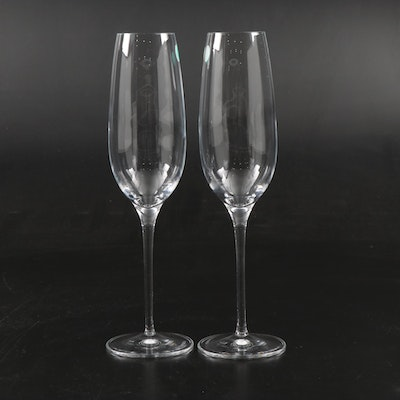 Pair of Tiffany & Co. Crystal Champagne Flutes