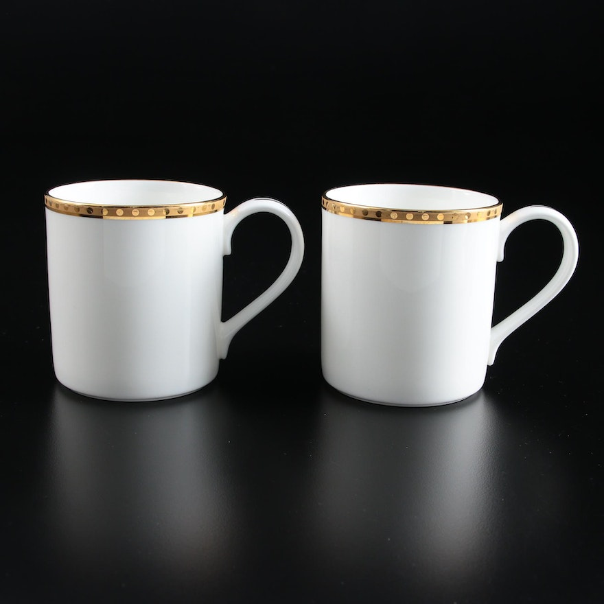 "Tiffany & Co. ""Gold Band"" Porcelain Mugs"