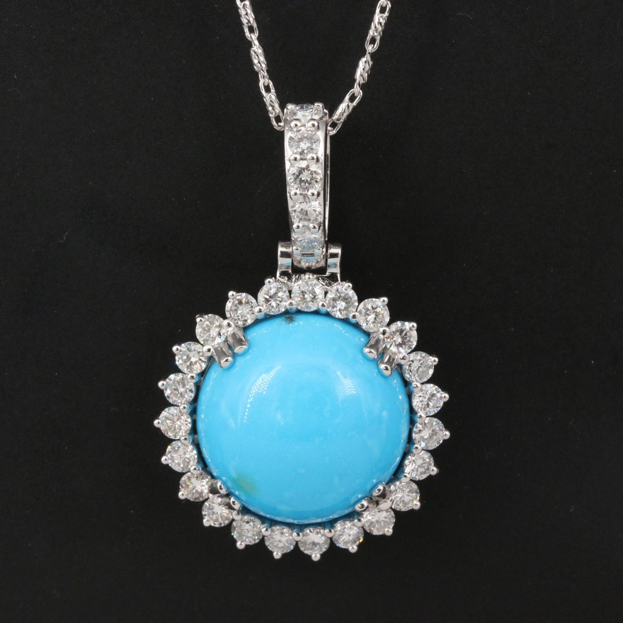 14K Turquoise and 1.00 CTW Diamond Pendant on Baht Style Chain