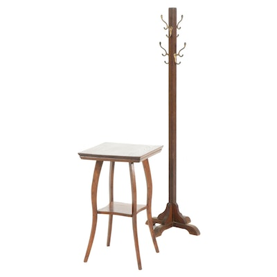 Oak and Brass Coat Rack and Two-Tier Occasional Table