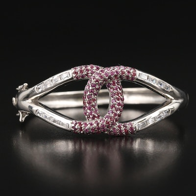 Sterling Cubic Zirconia and Garnet Interlocking Hinged Bangle