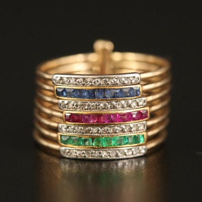 14K Diamond and Gemstone Harem Ring with Platinum Accents