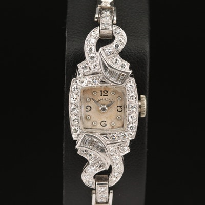 1954 Hamilton Platinum and 14K Diamond Stem Wind Wristwatch