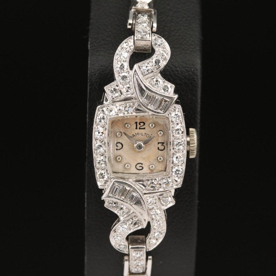 1954 Hamilton Platinum and 14K Diamond Stem Wind Wristwatch
