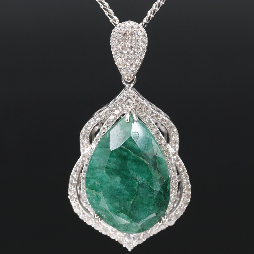 Sterling Green Beryl and White Sapphire Pendant Necklace
