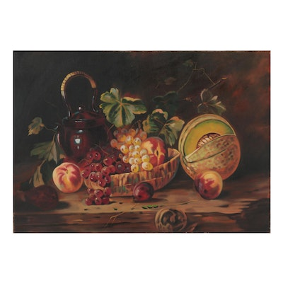 Still Life Oil Painting with Fruit, 21st Century