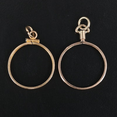 10K Coin Bezel Pendants