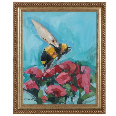 "Jose Trujillo Oil Painting ""Bumble Bee,"" 2020"