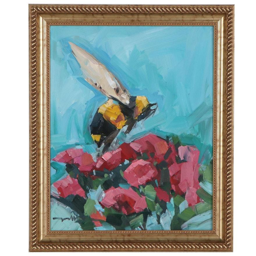 "Jose Trujillo Oil Painting ""Bumble Bee,"" 2020"