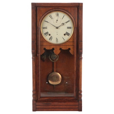 Seth Thomas Oak Regulator Pendulum Wall Clock, Late 19th/Early 20th Century