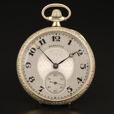 1922 Hamilton Gold Filled Open Face Pocket Watch
