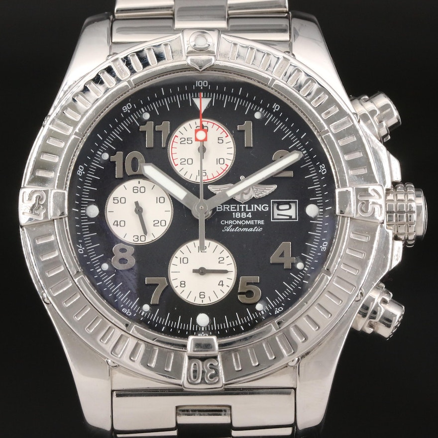 """Breitling """"Super Avenger"""" Chronograph Stainless Steel Automatic Wristwatch"""