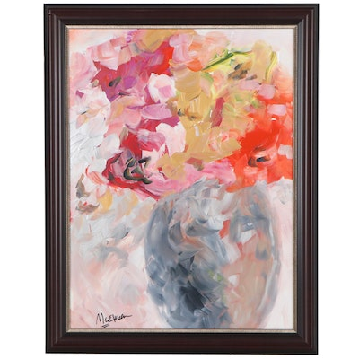 Claire McElveen Floral Still Life Acrylic Painting, 21st Century