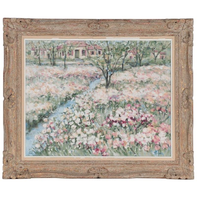 Landscape Oil Painting of Flower Field, Late 20th Century