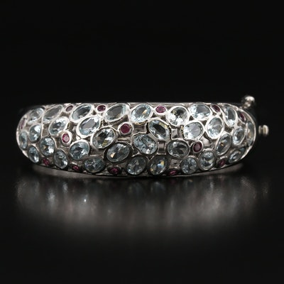 Sterling Aquamarine and Garnet Hinged Bangle